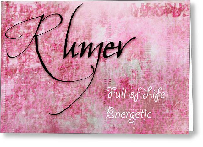 Rumer - Full Of Life Energetic. Greeting Card by Christopher Gaston