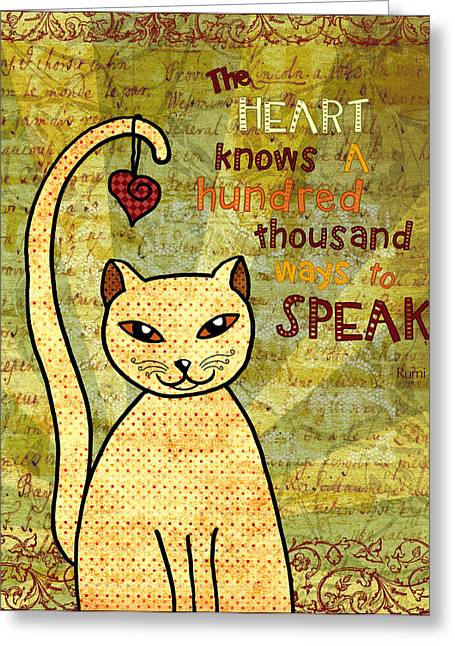 Rumi Cat Heart Greeting Card by Cat Whipple