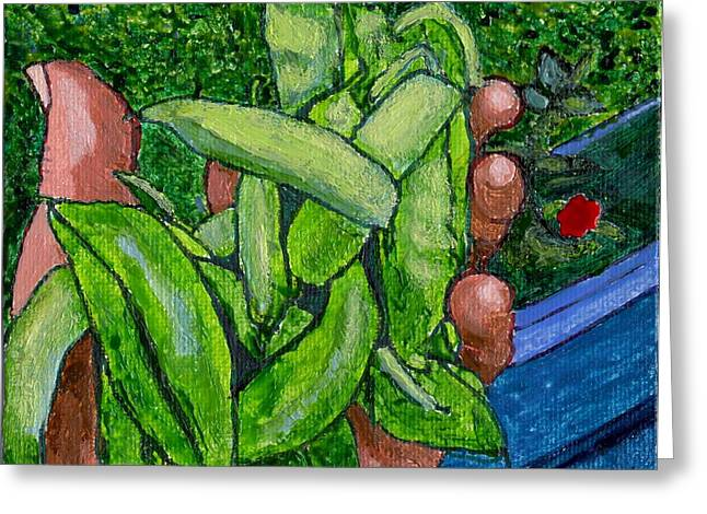 Rummenie's Snap Peas Greeting Card by Phil Strang