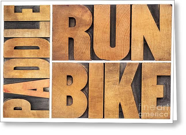 Greeting Card featuring the photograph Run Bike Paddle - Triathlon Concept by Marek Uliasz