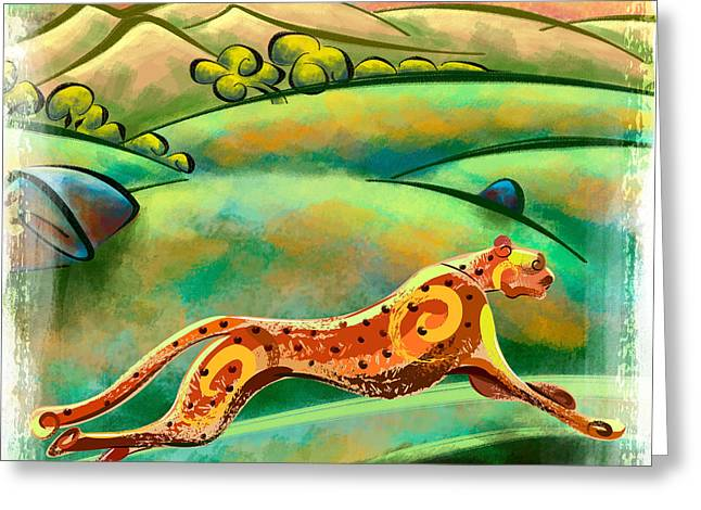 Run Cheetah Run Greeting Card by Bedros Awak