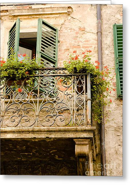 run down Italian balcony with shutters and flowers Greeting Card