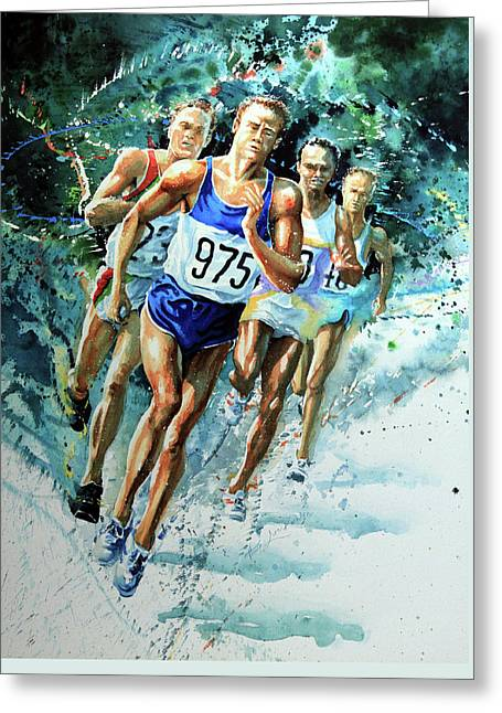 Run For Gold Greeting Card by Hanne Lore Koehler