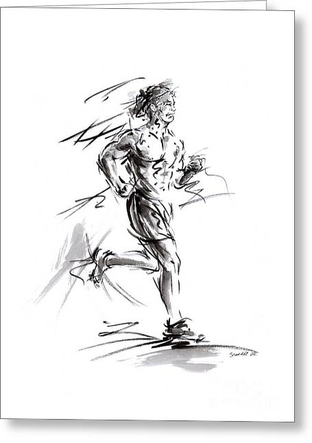 Run Lovers Running Man Painting Sport Athletic Olimpic Greeting Card by Mariusz Szmerdt
