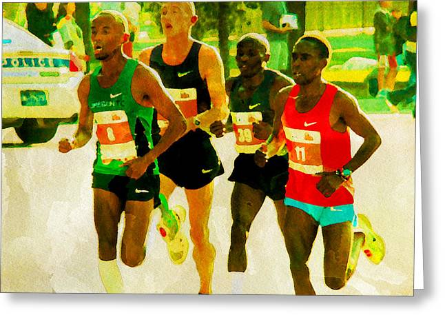 Runners Greeting Card by Alice Gipson