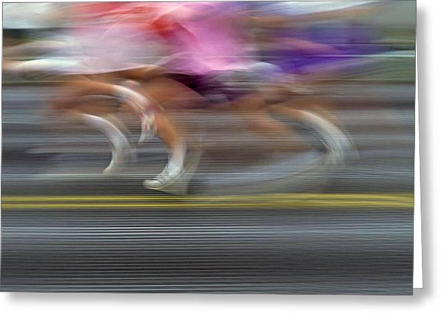 Runners Blurred Greeting Card by Jim Corwin