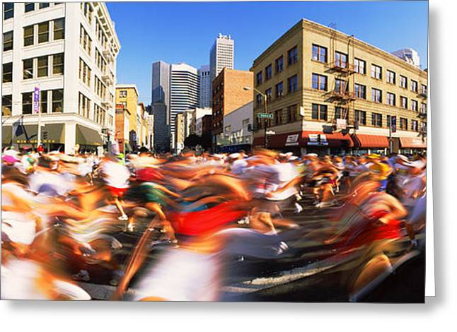 Runners Competing In Bay Bridge Run Greeting Card by Panoramic Images