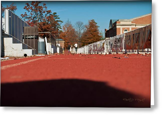 Runners - Irwin Belk Track - Davidson College Greeting Card by Paulette B Wright