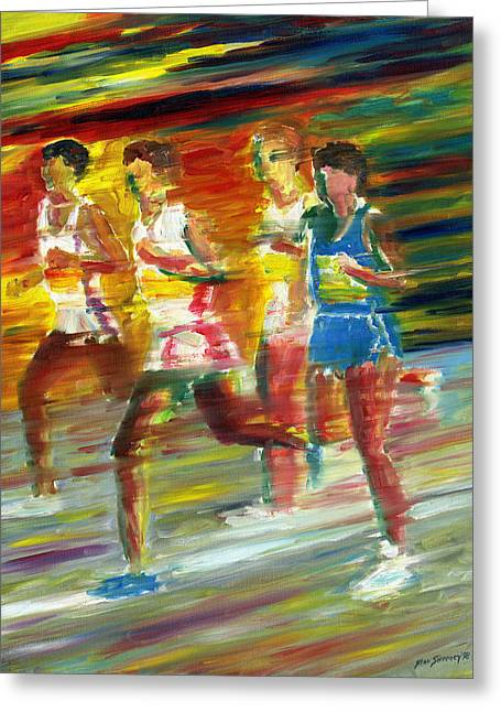 Runners Greeting Card by Stan Sweeney