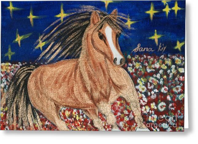 Greeting Card featuring the painting Running Horse by Oksana Semenchenko