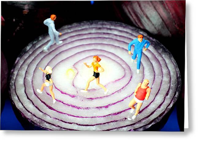 Running On Red Onion Little People On Food Greeting Card by Paul Ge