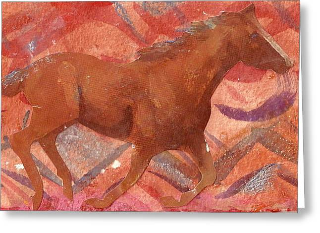 Running With The Wind Greeting Card by Anne-Elizabeth Whiteway