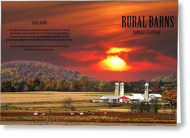 Greeting Card featuring the photograph Rural Barns  My Book Cover by Randall Branham