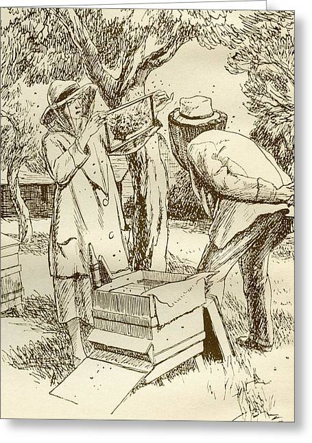 Rural Beekeeping In The Early Twentieth Century.  From Windfalls By Alpha Of The Plough, Published Greeting Card