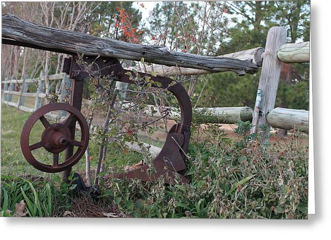 Rural Fence Post Greeting Card by Lorri Crossno