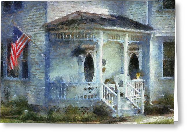 Rural Front Porch With Us Flag Greeting Card by Thomas Woolworth
