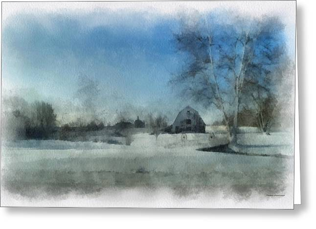 Rural Il Winter Time Around The Barn Photo Art 01 Greeting Card by Thomas Woolworth