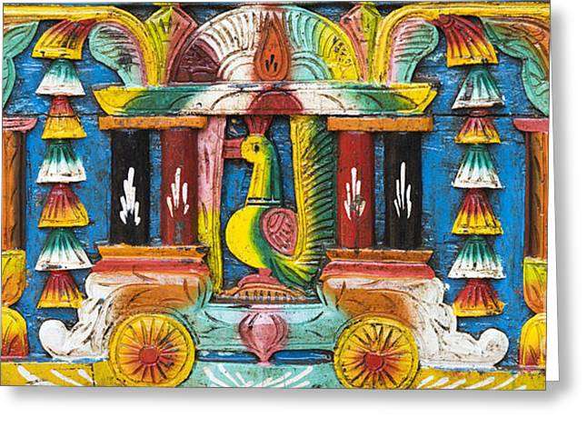 Rural Indian Wood Carving Greeting Card by Tim Gainey