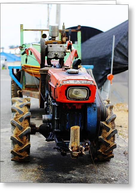 Rural Korean Tractor Greeting Card by Sally Bucey