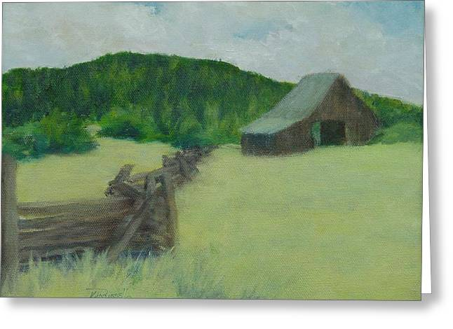 Rural Landscape Colorful Oil Painting Barn Fence Greeting Card by Elizabeth Sawyer