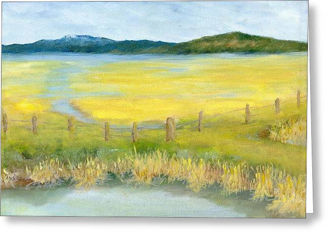 Rural Landscape Original Oil Painting Oregon Water Fields By K. Joann Russell Greeting Card