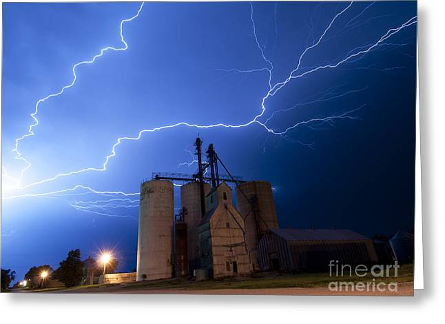 Rural Lightning Storm Greeting Card by Art Whitton