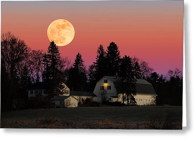 Rural Moonrise Greeting Card by Larry Landolfi