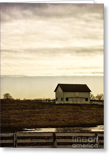 Rural Old Barn Behind Fence Greeting Card