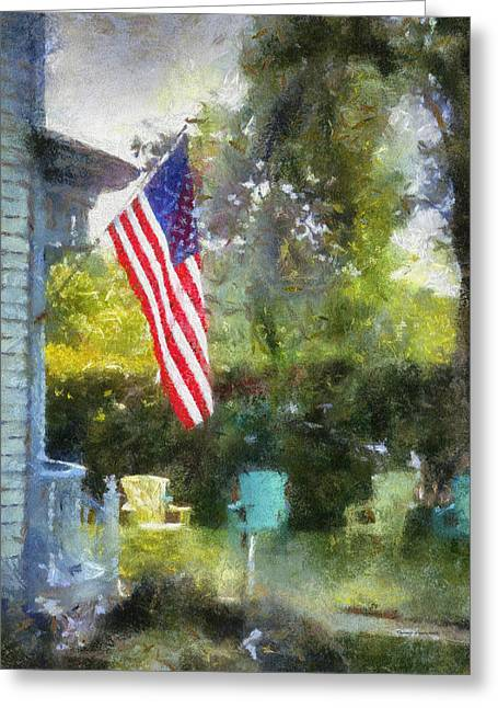 Rural Rear Porch With Flag Vertical Greeting Card by Thomas Woolworth