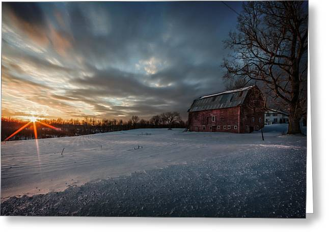 Rural Sunset Greeting Card by Everet Regal
