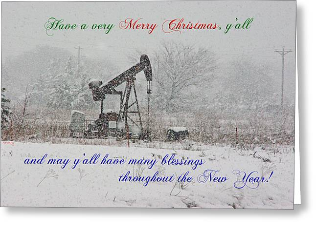 Rural Texas Christmas Greeting Card by Robyn Stacey