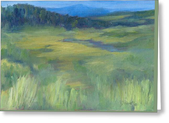 Rural Valley Landscape Colorful Original Painting Washington State Water Mountains K. Joann Russell Greeting Card