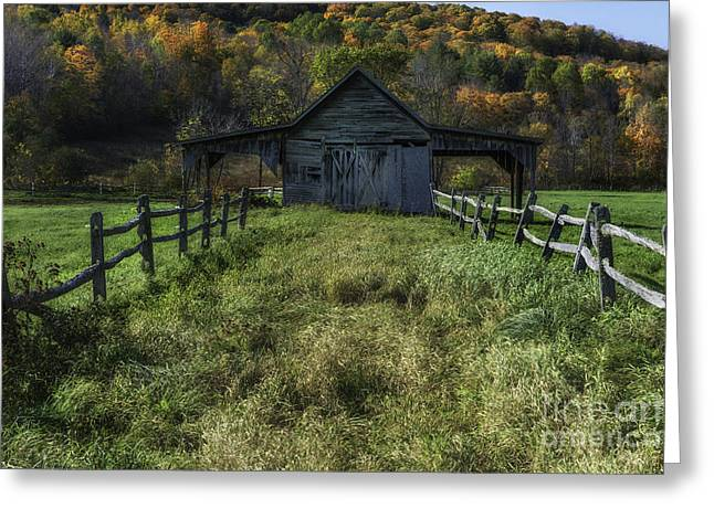Rural Vermont Symmetry  Greeting Card by Thomas Schoeller