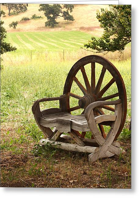 Rural Wagon Wheel Chair Greeting Card by Art Block Collections