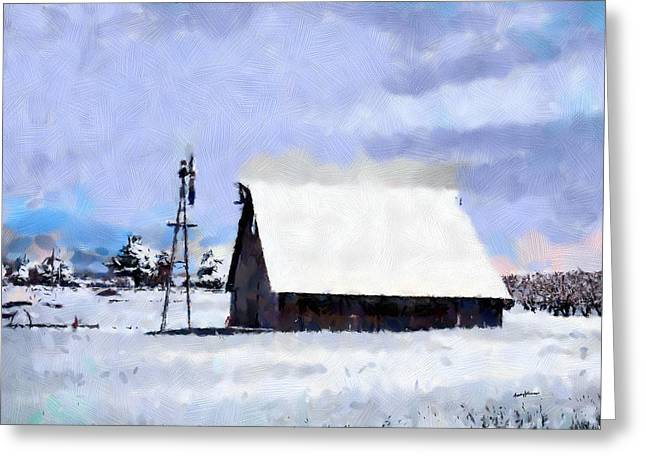 Rural Winter Scene Greeting Card by Anthony Caruso
