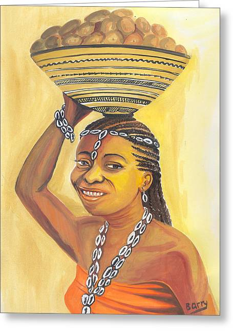 Greeting Card featuring the painting Rural Woman From Cameroon by Emmanuel Baliyanga
