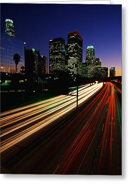 Rush Hour Harbor Freeway Los Angeles Ca Greeting Card by Panoramic Images