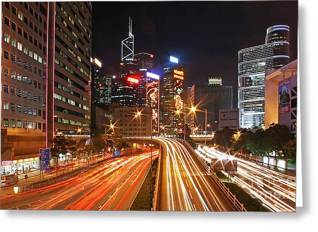Rush Hour In Hong Kong Greeting Card by Lars Ruecker