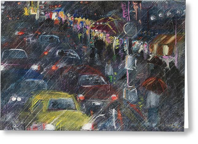 Rush Hour Rain  Greeting Card by Leela Payne