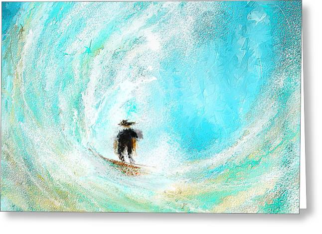 Rushing Beauty- Surfing Art Greeting Card by Lourry Legarde