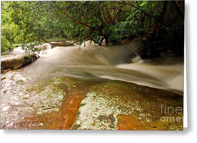 Rushing Waters In A Rocky Creek Greeting Card by Justin Woodhouse