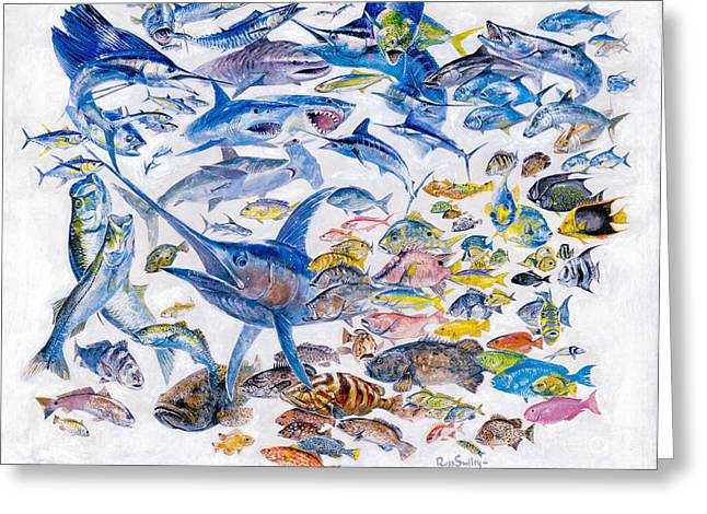 Russ Smiley Gamefish Collage Greeting Card by Carey Chen