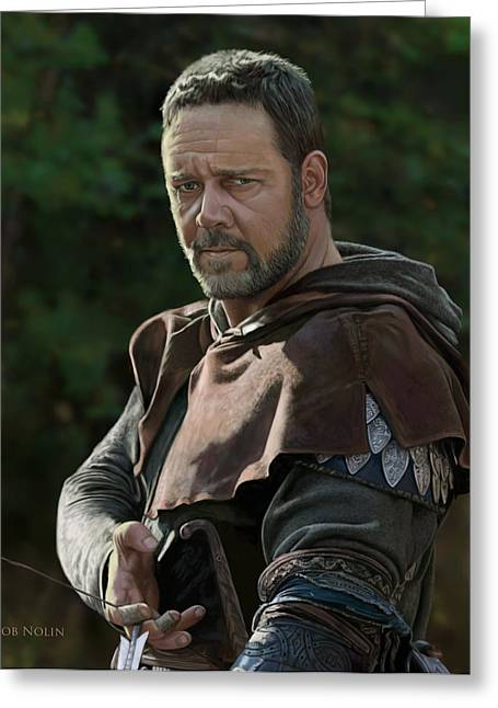 Greeting Card featuring the digital art Russell Crowe As Robin Hood by Bob Nolin