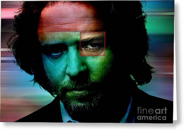 Russell Crowe Painting Greeting Card by Marvin Blaine