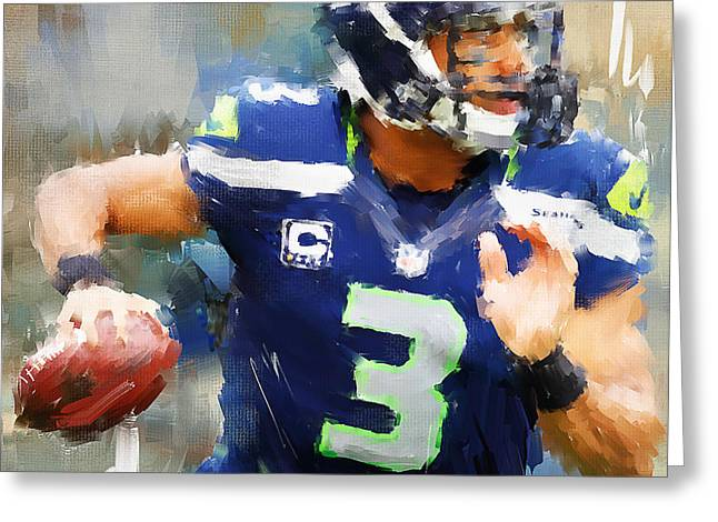 Russell Wilson Greeting Card by Lourry Legarde
