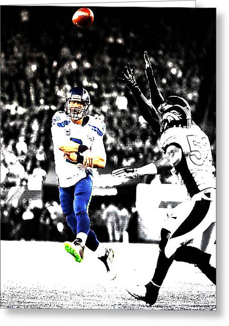 Russell Wilson Running Pass Greeting Card by Brian Reaves