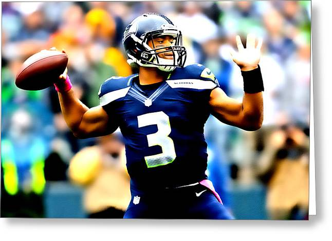 Russell Wilson Smooth Delivery Greeting Card by Brian Reaves