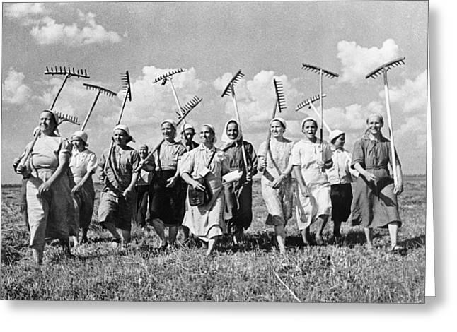 Russia: Farmers, C1941 Greeting Card