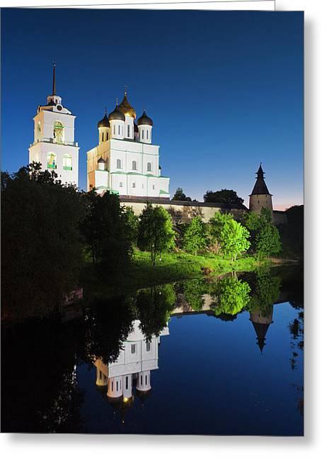 Russia, Pskovskaya Oblast, Pskov, Pskov Greeting Card by Walter Bibikow