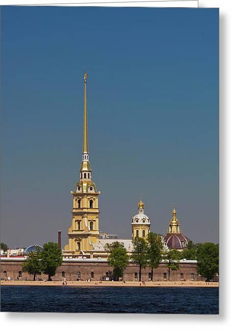 Russia, Saint Petersburg, Center, Neva Greeting Card by Walter Bibikow